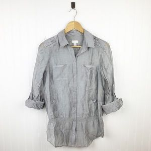 Chico's gray sheer button down drop waist blouse